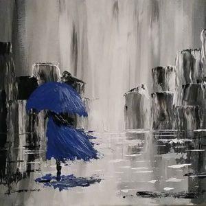 Σεμινάρια -Επιλέξαμε μια εικόνα σε γκρι και μπλε. Αφηρημένη ζωγραφική.