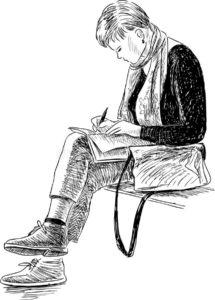 Έκθεση για το Γυμνάσιο - Επιλέξαμε το σκίτσο μιας γυναίκας που γράφει.