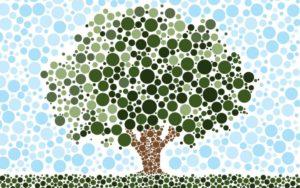 Γ' Ανθρωπιστική - διαλέξαμε την εικόνα ενός δέντρου σχεδιασμένου με την τεχνική pointillisme για τη Γ' Ανθρωπιστική