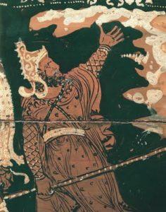 """Για το προτεινόμενο θέμα έκθεσης """"Ηλεκτρονική βιβλιοθήκη"""", επιλέξαμε μια φωτογραφία από αγγείο του 4 αιώνα π.Χ. Απεικονίζει τον Τάνταλο, μυθολογικό ήρωα που η Μαριάννα Τζιαντζή αναφέρει στο κείμενο που παραθέτουμε. Παρομοιάζει τους σύγχρονους αναγνώστες με τον μυθικό ήρωα και το μαρτύριό του."""
