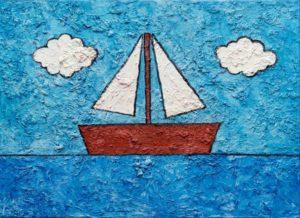 Ένας παιδικός πίνακας με καραβάκι στη γαλάζια θάλασσα. Αφορά το κείμενο συγχαρητηρίων των παιδιών που τελείωσαν τις Πανελλαδικές