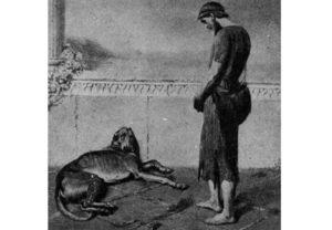 Άργος και Οδυσσέας: Η εικόνα είναι ένας πίνακας που αποδίδει τη στιγμή που ο Άργος, ο σκύλος του Οδυσσέα αναγνωρίζει τον ήρωα μέσα από τη μεταμφίεση του ζητιάνου.
