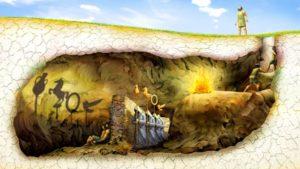 Η αλληγορία του σπηλαίου στο χρόνο: Μια αποτύπωση κόμικ των δεσμωτών μέσα στο σπήλαιο. Πίσω τους, όσοι περνούν με τα αντικείμενα των οποίων τις σκιές βλέπουν στον τοίχο της σπηλιάς.σ